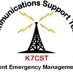 Communication support team logo, depicts radio tower transmission K7CST